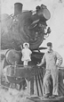 Engineer and daughter on NP locomotive